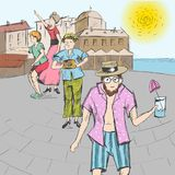 Comic strip. A group of people together with a guide are walking around the city. Royalty Free Stock Image