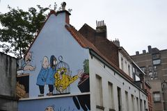 Comic strip mural painting in Brussels, Belgium Stock Photos
