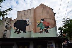 Comic strip mural painting in Brussels, Belgium Stock Images