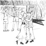 Comic strip. People say goodbye at the subway. A train. A woman is hugging with a man. Royalty Free Stock Photos