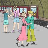 Comic strip. People say goodbye at the subway. A train. A woman is hugging with a man. Comic strip. People say goodbye at the subway. Farewell at the station Royalty Free Stock Image