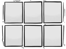 Comic Strip Six Grey Panels Box Halftone Cartoon Template Stock Images