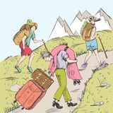 Comic strip. Tired travelers climb a mountain. A tourists follow a pathway. Hot summer. In the distance you can see mountains with snow. A husband took his Royalty Free Stock Images