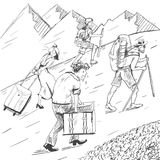 Comic strip. Tired travelers climb a mountain. Tourists follow the guide. Royalty Free Stock Images