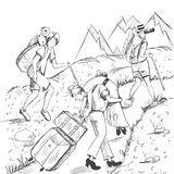 Comic strip. Tired travelers climb a mountain. Stock Images
