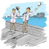 Comic strip. Two mens met by a sea. Friendly greeting. Peoples take off their hats as a sign of respect. One hat flew off. Sketch style. Vector illustration Royalty Free Stock Photos