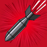 Comic style cartoon bomb with explosion. Design element for post. Er, flyer. Vector illustration Royalty Free Stock Image