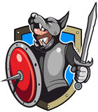 Comic style, cartoon style knight in a wolf-helmet, with sword and shield Royalty Free Stock Photo