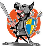 Comic style, cartoon style knight in a wolf-helmet, with sword and shield Royalty Free Stock Image
