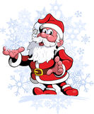 Comic style, cartoon style Santa Claus, with snow flakes on background. Royalty Free Stock Photography