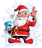 Comic style, cartoon style Santa Claus, with a tin of paint in his hand, with snow flakes on background. Stock Photos