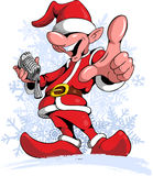Comic style, cartoon style singing christmas gnome, with snow flakes on background. Stock Photography