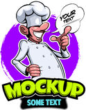 Comic style, cartoon style smiling cook chef master. In the cook cap with the comics text box, illustration royalty free illustration