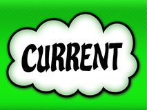 Comic style cloud with CURRENT writing on bright green backgroun. D. Illustration Stock Photo