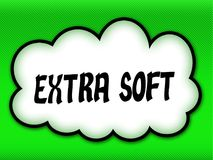 Comic style cloud with EXTRA SOFT writing on bright green background. Illustration stock illustration