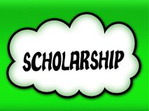 Comic style cloud with SCHOLARSHIP writing on bright green backg. Round. Illustration Stock Image