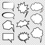Comic style clouds. Elements of communication in the comics and cartoons Royalty Free Stock Photo