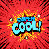 Comic style cool poster, joyful expression. Comic style cool poster, superhero speech bubble, joyful expression Stock Images