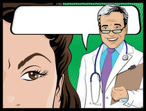 Comic Style Doctor and Woman Patient Talking. Illustration of Pop Art Style Comicbook Doctor and Woman Patient talking about the results of the medical test or Royalty Free Stock Image
