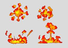 Comic style explosion set. Royalty Free Stock Photos