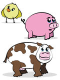 Comic style farm animal characters Royalty Free Stock Photo