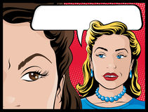Comic Style Gossiping Women Royalty Free Stock Photos
