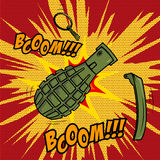 Comic style Grenade explosion. Design element for poster, flyer Royalty Free Stock Photos
