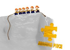 Comic style missing piece 3d illustration with 3d characters. Cute tiny man pull up a missing piece comic 3d illustration Royalty Free Stock Photography