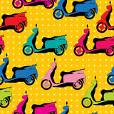 Comic style scooter pattern Royalty Free Stock Photo