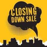 Comic Style Speech Bubble, With Text Closing Down Sale Stock Image