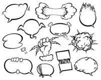 Comic style speech bubbles collection. Funny design vector items illustration stock illustration