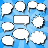 Comic style speech bubbles. Vector illustration of a collection of comic style speech bubbles Royalty Free Stock Photography