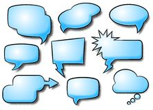 Comic style speech bubbles. Vector illustration of a collection of comic style speech bubbles Royalty Free Stock Images