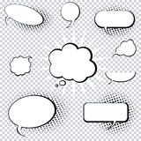 Comic style speech and thought bubbles stock illustration