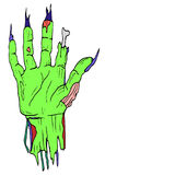 Comic style, torn off, cartoon zombie hand, palm green, with lon Royalty Free Stock Images