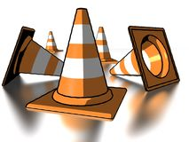 Comic style traffic cones. 3d illustration of comic style 3d traffic cones reflecting on white background Royalty Free Stock Photography