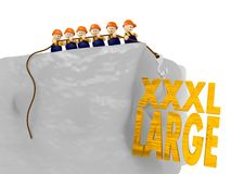 Comic style XL 3d illustration with 3d characters. Cute tiny 3d characters pull up a xxxl large sign Stock Photos