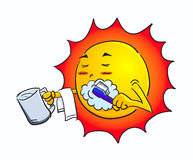 Comic sun. There is a vector illustration of the sun Stock Photo