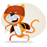 Comic Super Cat. Illustration of a funny cartoon super cat animal character with mask, outfit and feline super powers Royalty Free Stock Images