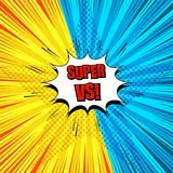 Comic Super duel template. With white speech bubble red wording two yellow and blue sides rays halftone star and radial humor effects. Vector illustration stock illustration