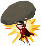 Comic Super Girl Throwing Big Rock. Illustration of a comic red super woman character throwing a big heavy meteorite rock with her arms Royalty Free Stock Images