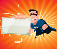 Comic Super Hero Holding Sign. Illustration of a cool cartoon super hero holding vcard sign Stock Photography