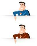 Comic Super Hero Pointing Sign Stock Photo