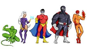 Comic Superheroes Set. Including squatting monster woman defenders in capes man with burning hand isolated vector illustration stock illustration
