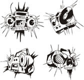 Comic tape recorders. Set of black and white vector illustrations Royalty Free Stock Images