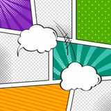 Comic template element with speech bubble halftone art Stock Photo