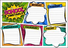 Free Comic Template Of A School Schedule For 5 Days Of The Week Stock Image - 218077681