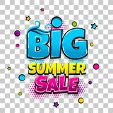 Comic text advertise glosssy summer sale. Big summer sale comic text pop art advertise. Offer discount price comics book poster phrase. Vector colored halftone Royalty Free Stock Image