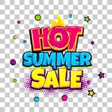 Comic text advertise glosssy summer sale. Hot summer sale comic text pop art advertise. Offer discount price comics book poster phrase. Vector colored halftone Stock Image