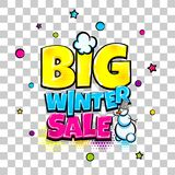 Comic text advertise glosssy winter sale. Big winter sale comic text pop art advertise. Offer discount price comics book poster phrase. Vector colored halftone Royalty Free Stock Image